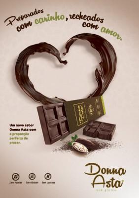Barrinha de Chocolate 70%; Zero Açúcar, Sem Glúten, Sem Lactose.