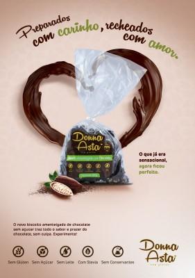 Biscoito Coberto com Chocolate 70%, Zero Açúcar, Sem Glúten, Sem Lactose.